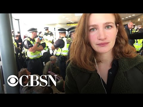 Climate-change protesters block entrance to London City Airport