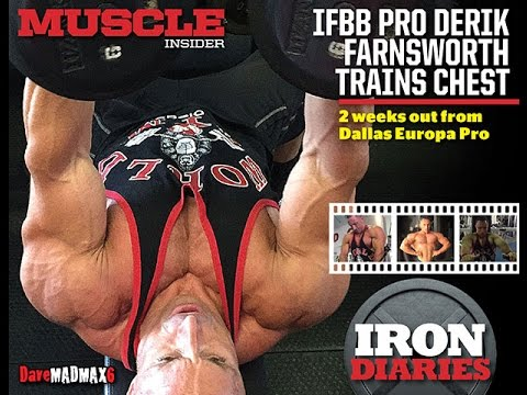 Derik Farnsworth trains chest 2 weeks out from Dallas Europa