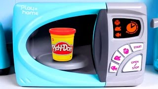 Just Like Home Microwave Oven Toy Review - Make Play Doh Food - Videos For Kids