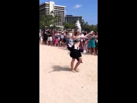Waikiki beach.  Native Hawaiian dance