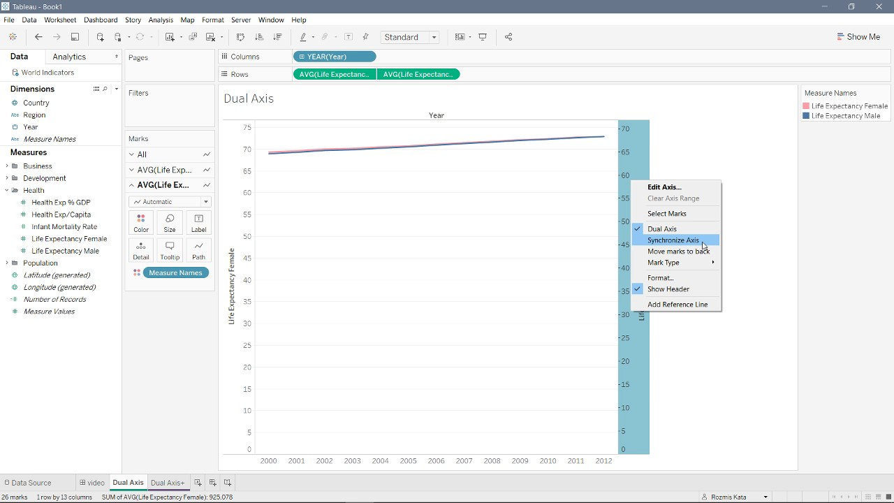 how to create dual axis in tableau youtube rh youtube com