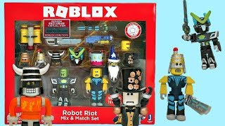 Roblox Toys, Robot Riot Set & Code Item, Series 3, Unboxing & Toy Review,