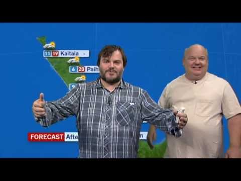 Jack Black presents the weather forecast