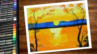 Landscape Sunset Scenery Drawing With Oil Pastel Step By Step - Pastel Drawing For Beginners