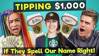 College Kids React To Tipping Starbucks Employees $1,000 If They Spell My Name Right