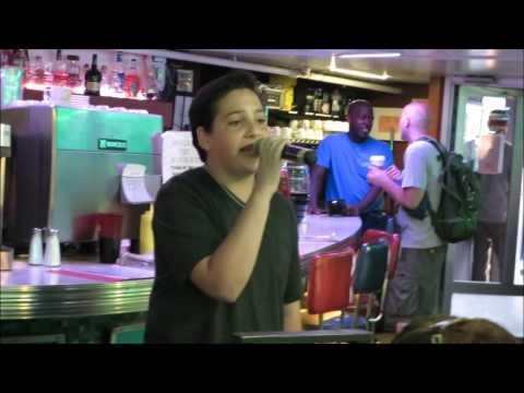 Jacob Cornelius, 14, singing at Ellen's Stardust Diner in NYC