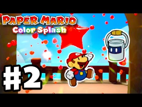 Paper Mario: Color Splash - Gameplay Walkthrough Part 2 - First Mini Paint Star! (Nintendo Wii U)