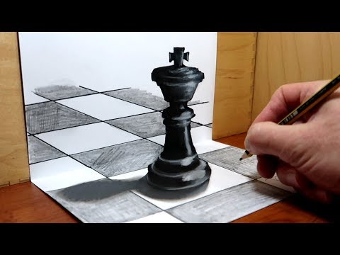 3D Trick Art on Paper   King of Chess