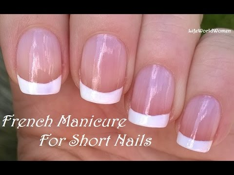 French manicure for short nails no tape needed nail design youtube french manicure for short nails no tape needed nail design prinsesfo Images