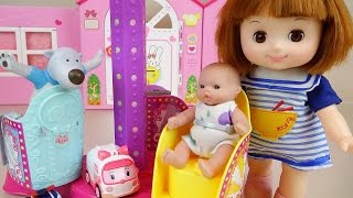 Baby doll Park swivel chairs and Poli Pororo toys play