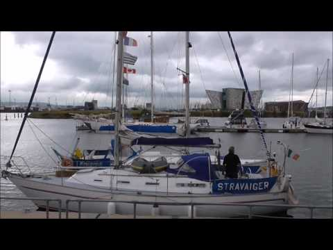 Shouting Hello to Dublin Yacht Timballoo at Belfast Marina