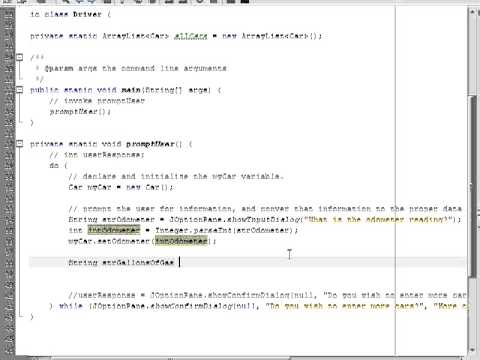 3) Example Cars Project in Java.  Review of do-while loops and JOptionPane.