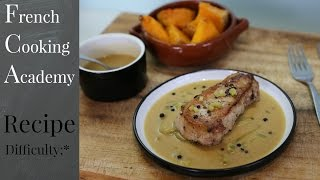 Pork chops with a white wine, mustard and gherkin Sauce - how to French food video recipe