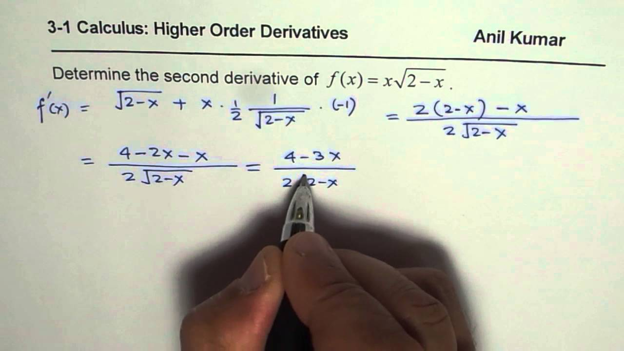 Simplify Second Derivative of Product of Square-root Function - YouTube