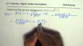 simplify second derivative of product of square root function