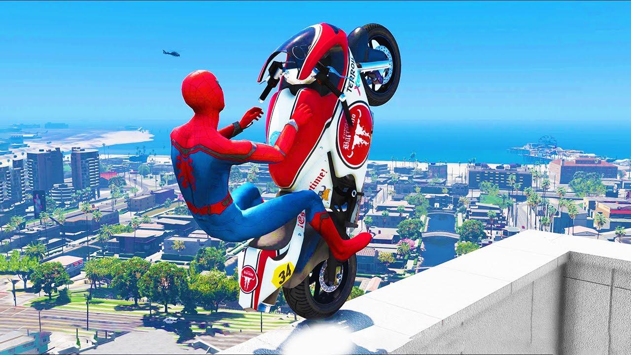 Download GTA 5 Spiderman Epic Jumps #16 ( Spider-Man Stunts & Fails )