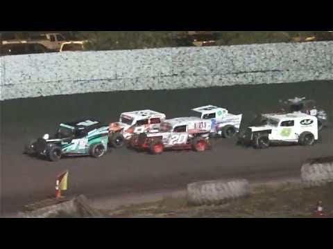The Great Storm of April Makeup Race. 20 Laps - RESULTS: 1 #79r Mark Hanson, 2 #9r Chad Matthias, 3 #32r Garrett Brady, 4 #20r Jamie Faulkner, 5 #08r ... - dirt track racing video image