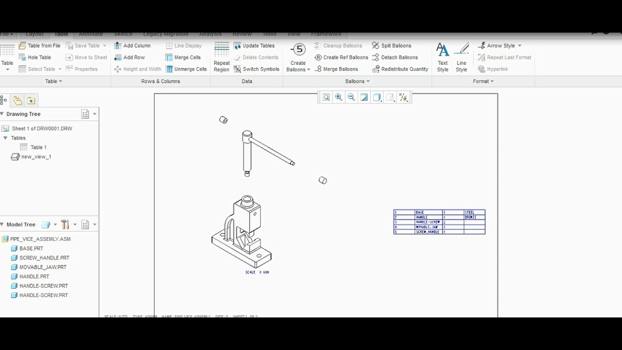 CREATING BILL OF MATERIALPARTS LIST IN CREO PARAMETRIC YouTube – Material List