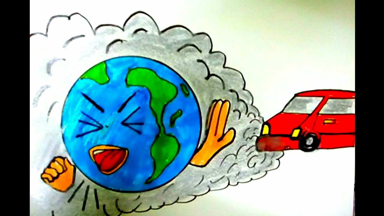 Save earth stop pollution easy drawing for kids save environment poster stop global warming