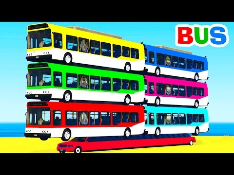 Thumbnail: Learn Color Bus on Car w Spiderman Cars Cartoon for Kids & Colors for Children Nursery Rhymes