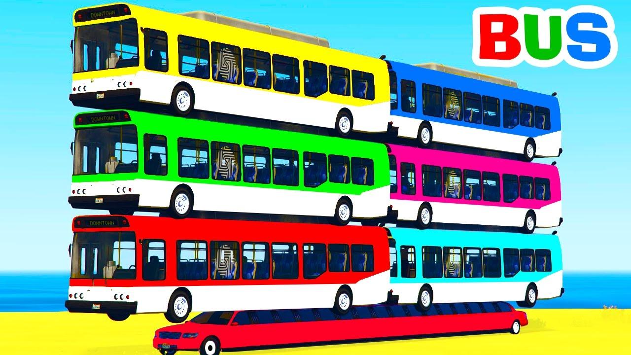 Learn Color Bus on Car w Spiderman Cars Cartoon for Kids ...