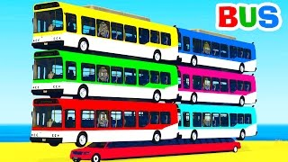 Learn Color Bus on Car w Spiderman Cars Cartoon for Kids & Colors for Children Nursery Rhymes