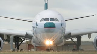 new livery cathay pacific airbus a330 300 close up takeoff melbourne airport b lak