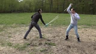 Спарринг фехтование на тренировочных палках