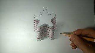 Drawing a 3D star - 3D trick art   Vẽ ngôi sao 3D thật đẹp và đơn giản