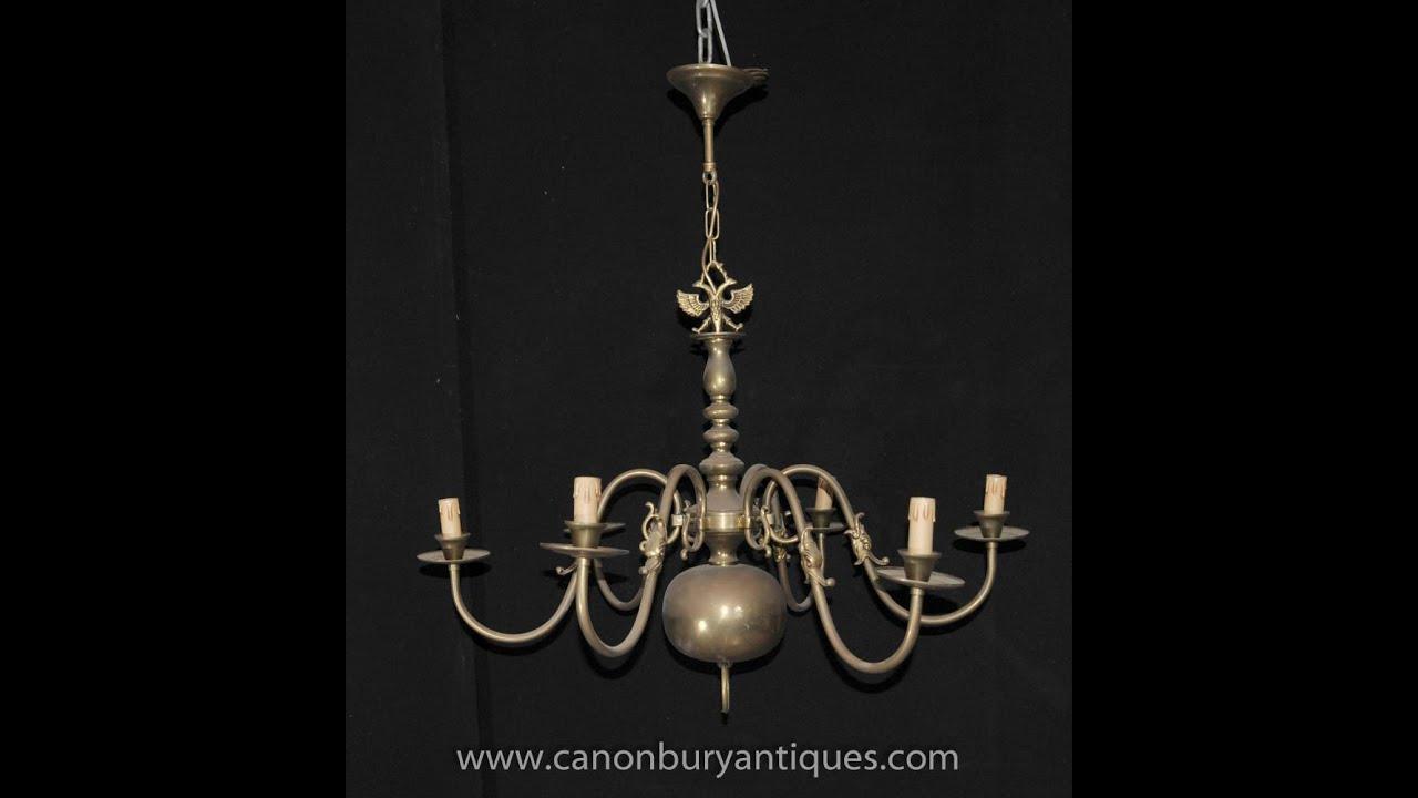 - Antique Brass Dutch Chandelier Art Nouveau Light - YouTube