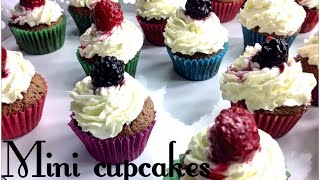Mini Cupcakes With Nutella, Dark Chocolate, Cream Cheese And Red Fruit