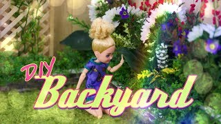 DIY - How to Make: Doll Backyard   Real Sliding Door   Fluffy Grass   Lattice & more
