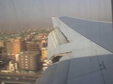 Boeing 747 Landing at Khartoum  هبوط مطار الخرطوم