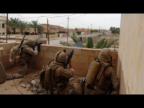 US Marines in Combat During Operation in Ramadi, Iraq War 2006