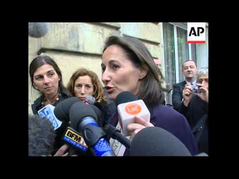 WRAP Sarkozy supporters and ministers, Royal; Min meet, Alliot-Marie