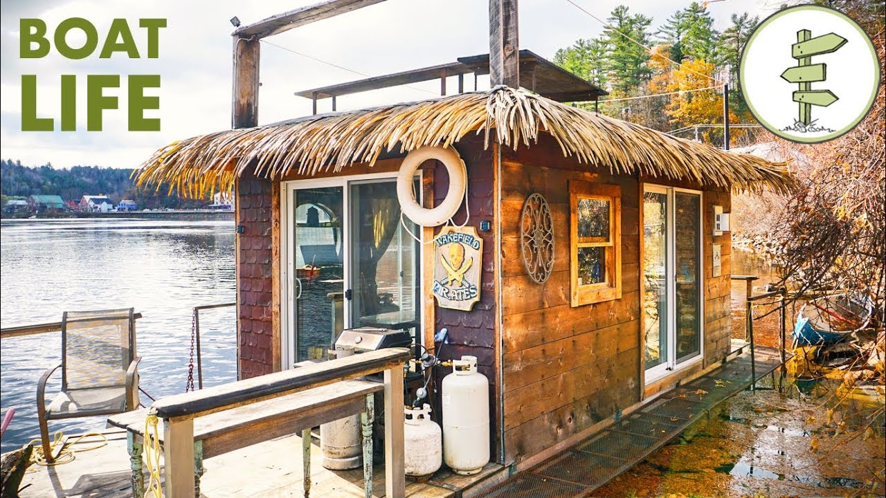 Awesome Tiny House Boat Tour Man Living On The Water