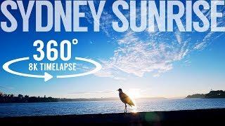 8k 360 timelapse video - Sydney sunrise   AVC/H.264 with 10 bit high 444