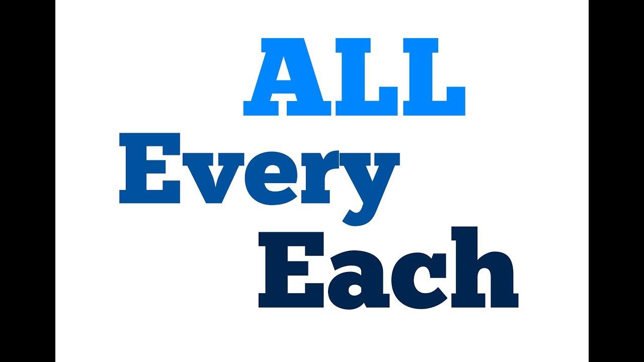 Complicated ENGLISH: All, Every & Each (DIFFERENZE tea ALL ...