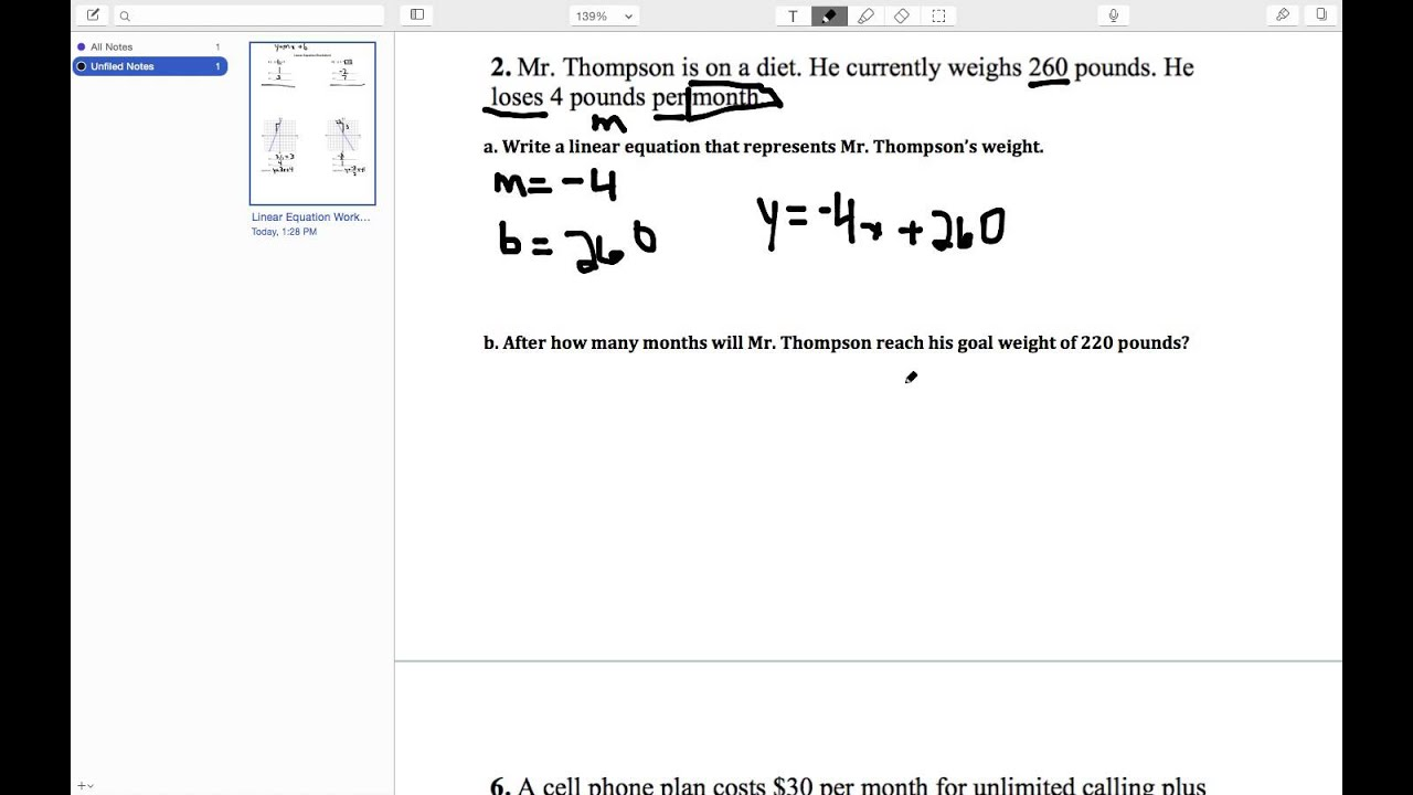 Linear Equation Worksheet Review