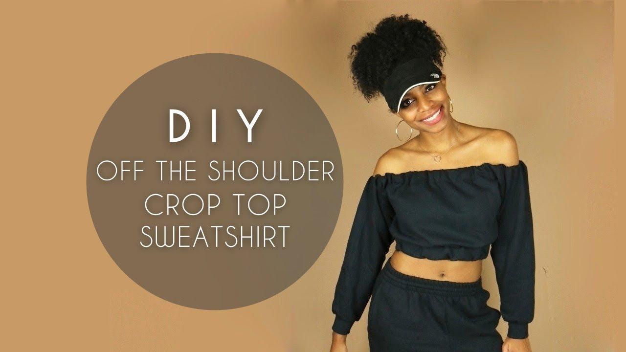 7412f736431 DIY Off the Shoulder Crop Top Sweatshirt (No Sewing): 11 Steps (with ...