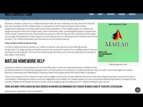 Matlab Assignment Help, Matlab Homework Help & Matlab Tutor