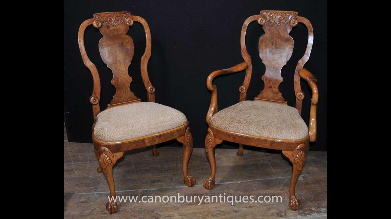 Set Antique Walnut Queen Anne Dining Chairs - Set Antique Walnut Queen Anne Dining Chairs - YouTube