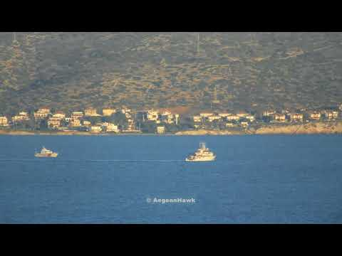 Turkish Research and Survey vessel Tubitak Marmara south of Cesme port in Chios Strait.