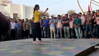 robot dance performance by college girl