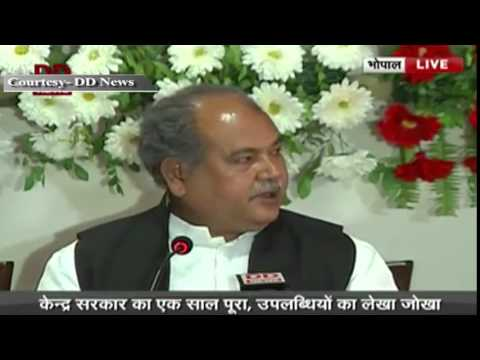Union Minister of Steel & Mines Shri Narendra Singh Tomar addresses press conference