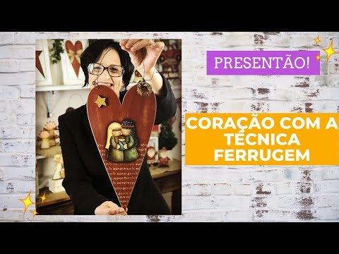 AULA CORAÇÃO NA TÉCNICA FERRUGEM COM DECOUPAGE SAGRADA FAMÍLIA.