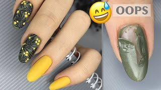 Маникюр на 8 марта Стемпинг дизайн ногтей Мимоза маникюр Абстракция на ногтях