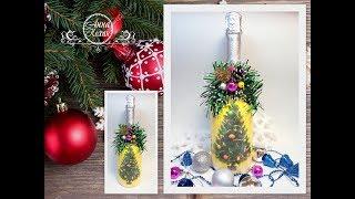 DIY Декупаж шампанського на Новий 2019 рік СВИНІ Подарунок своїми руками Анна Кохан Покроковий МК