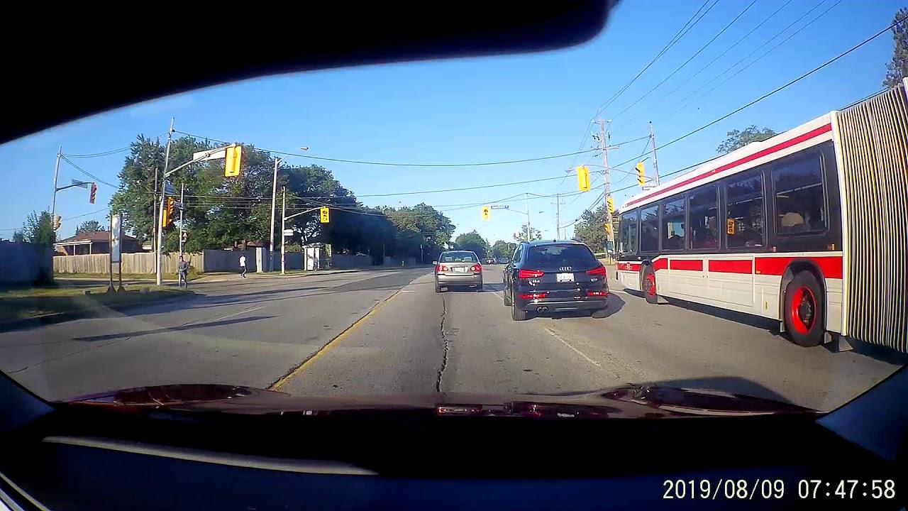 Audi driver almost rear ends TTC bus