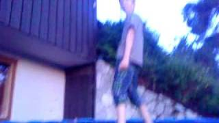 Hilarious guy dancing on a trampoline